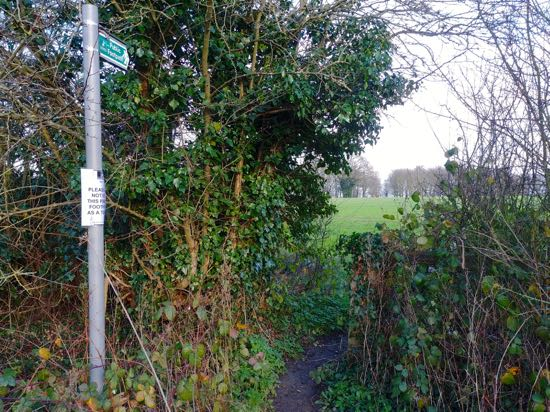The start of the footpath, regularly fouled with human excrement  Image by North Mymms News, released under Creative Commons