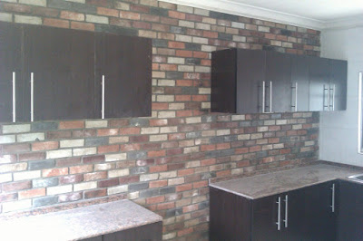 interior antique bricks on kitchen wall