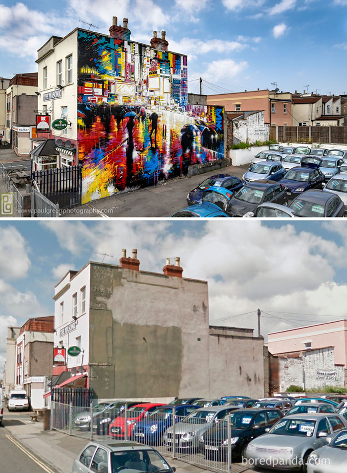 10+ Incredible Before & After Street Art Transformations That'll Make You Say Wow - The Masonic, Bristol, UK