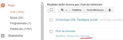 Come cancellare un post su blogger