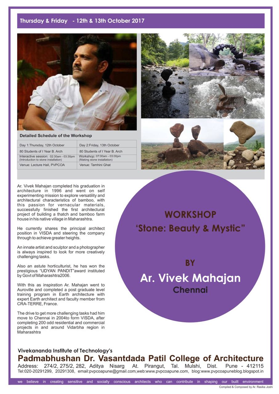 PVP College of Architecture, Pune : Workshop : AD I : Stone