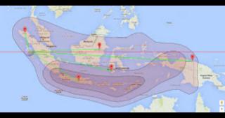 gambar jangkauan Beam Satelit Chinasat 11. Pada gambar tersebut nantinya akan menentukan arah dan posisi chinasat 11 agar mudah di lock, untuk wilayah Indonesia jangkauan Beam mencakup seluruh Indonesia. Jadi untuk tracking chinasat 11 akan mudah mendapatkan siaran satelit tersebut.