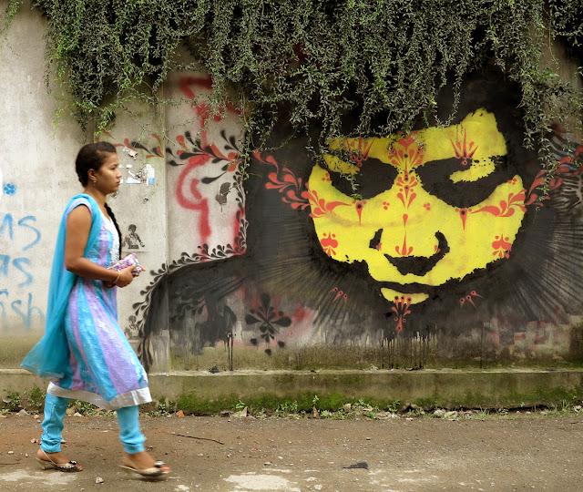 stencil street art portrait by stinkfish in nepal