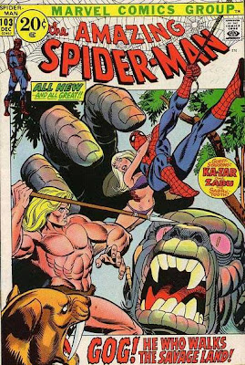 Amazing Spider-Man #103. Spidey goes King Kong with Gog, Ka-Zar, Zabu and Kraven the Hunter