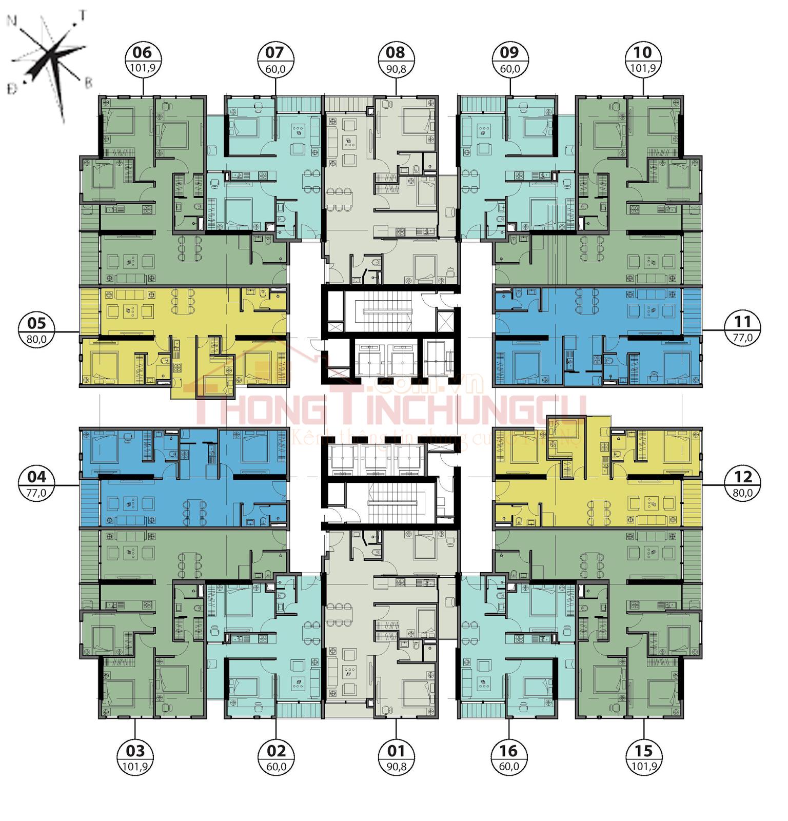 Mặt bằng điển hình tầng 6 - GoldSeason