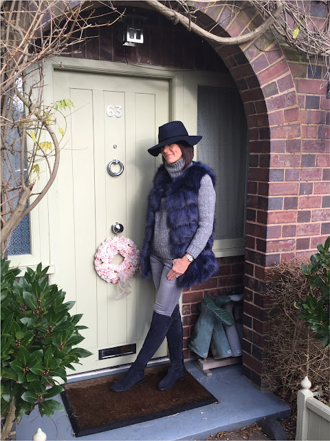 My Midlife Fashion, Zara Felt Hat, Faux Fur Gilet, Zara Chunky Knit Roll Neck, light grey skinny jeans, clarks caddy belle over the knee boots