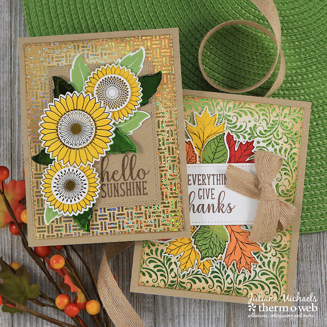 Cards by Juliana Michaels featuring Therm O Web and Gina K Designs Graphic Sunflowers and Thankful Leaves StampnFoil and Foil Mates