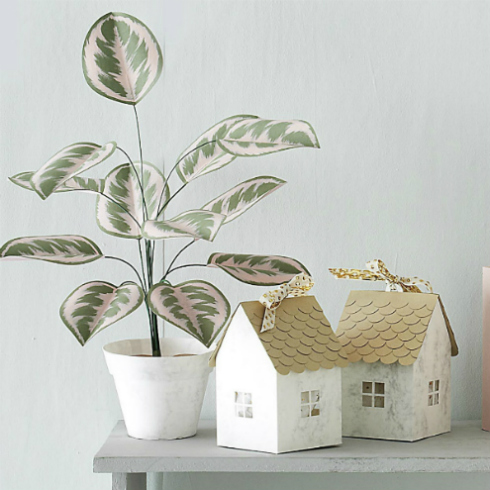 Papercraft house gift boxes and papercraft leafy plant