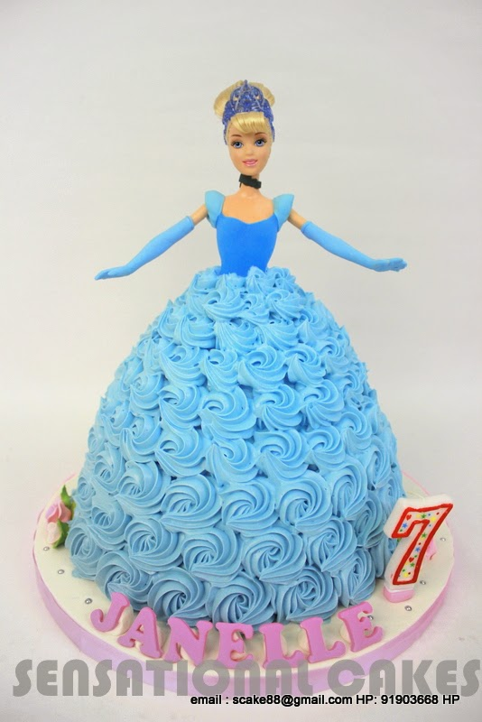 Cinderella Doll Rosette Ombre Cake Singapore Princess Cream