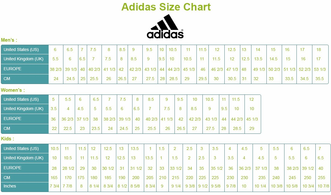 Adidas Size Chart Compared To Nike