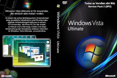 Windows Vista x64-Bits SP2 PT-BR Todas as Versões DVD Capa