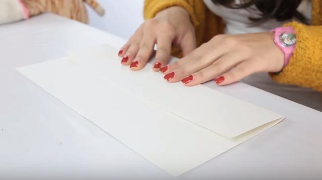 doblar, cortar, trozo, papel, folio