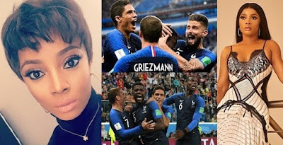 Toke Makinwa wins N7.2 million after placing a bet on France to win the World Cup