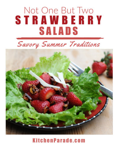 Strawberry Pepper Salad with Candied Almonds & Shaved Parmesan ♥ KitchenParade.com, so easy and so over-the-top delicious. Best with tender, home-grown strawberries.