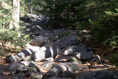 The trail becomes a series of boulders to step on