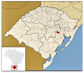Cidade de General Câmara, no mapa do Rio Grande do Sul