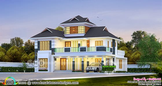 2843 sq-ft beautiful sloped roof modern house design