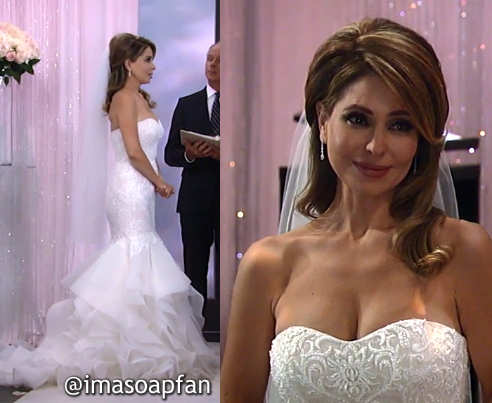 Olivia Falconeri, Lisa LoCicero, Scroll Lace Trumpet Wedding Dress, Oleg Cassini, General Hospital, GH