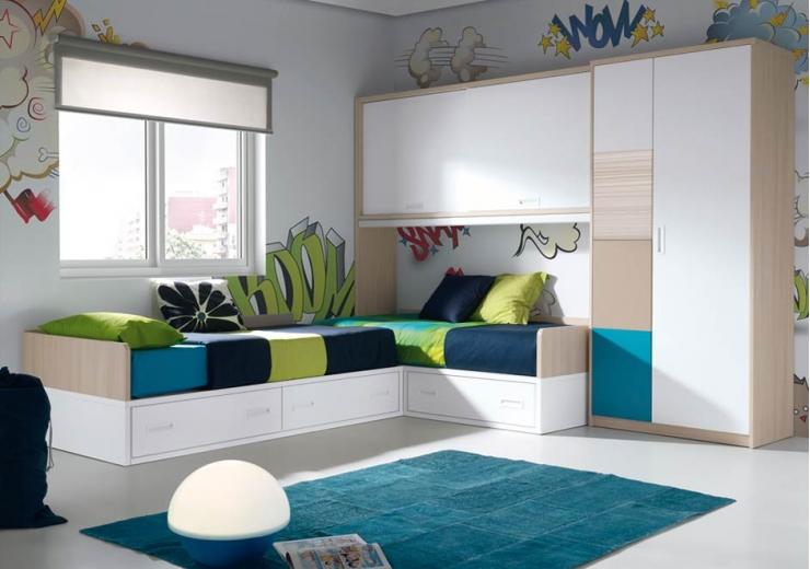Dormitorios juveniles economicos Dormitorio juvenil en l