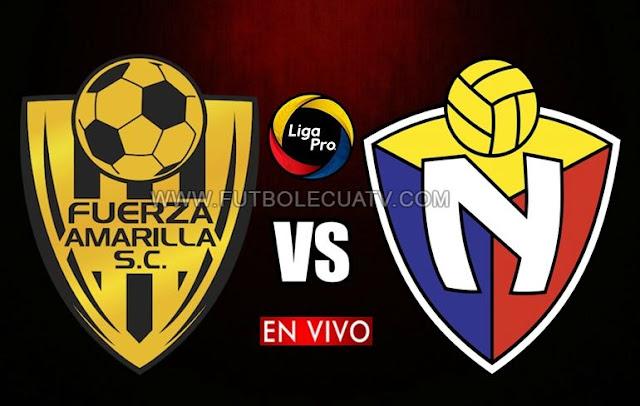 Fuerza Amarilla y El Nacional se miden en vivo a partir de las 14h15 horario local por la fecha veintiséis de la Serie A efectuándose en el estadio Nueve de Mayo, teniendo como árbitro principal a Roddy Zambrano con emisión del canal autorizado GolTV Ecuador.