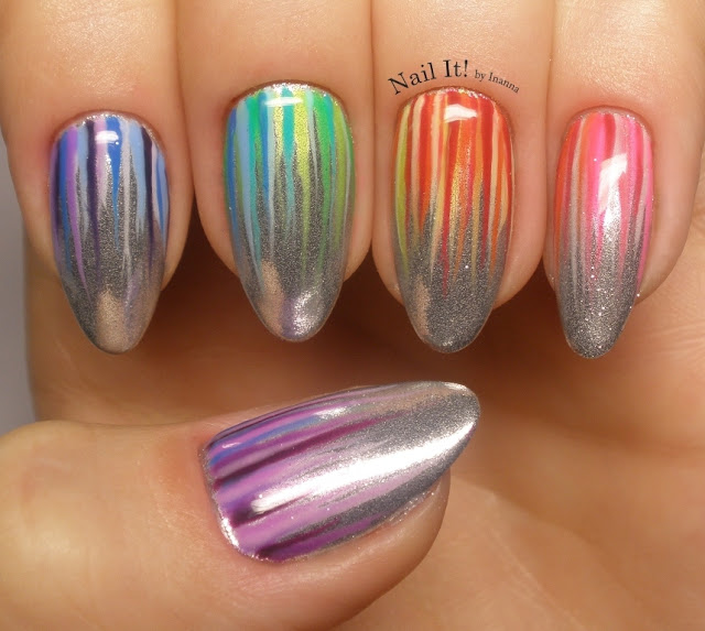 Indigo Metal Manix Silver with Rainbow Waterfall Nail Art - Mani Swap with Kamila Lyll