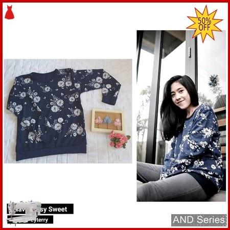 AND149 Baju Atasan Wanita Kaos Biru Navy BMGShop
