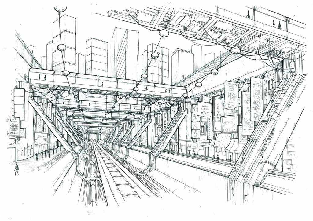 Andrea Susini works: perspective drawing: sci-fi chinatown