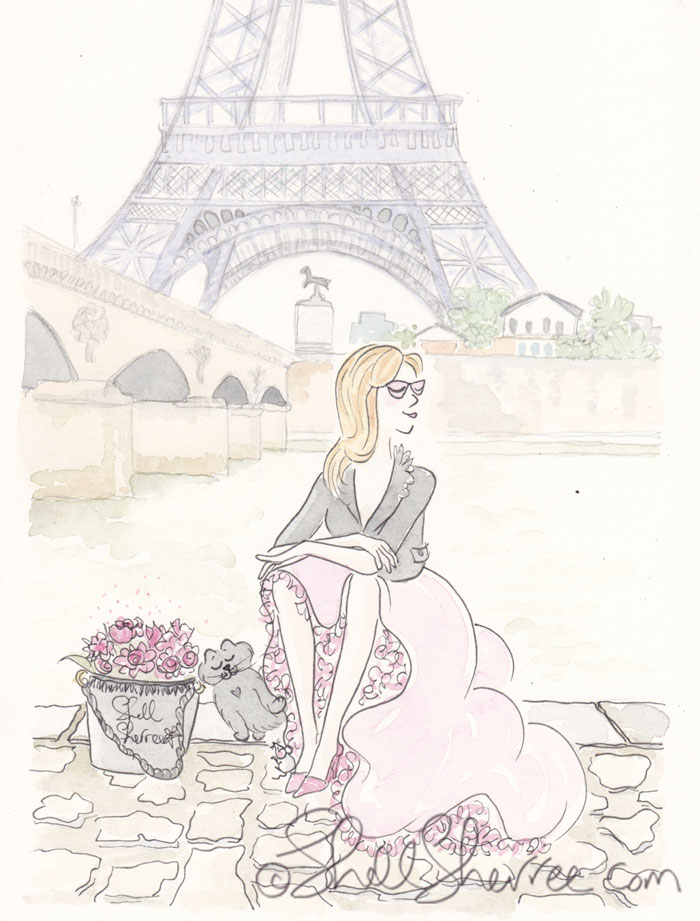 Paris fashion illustration, Banking on an Eiffel Tower View © Shell Sherree