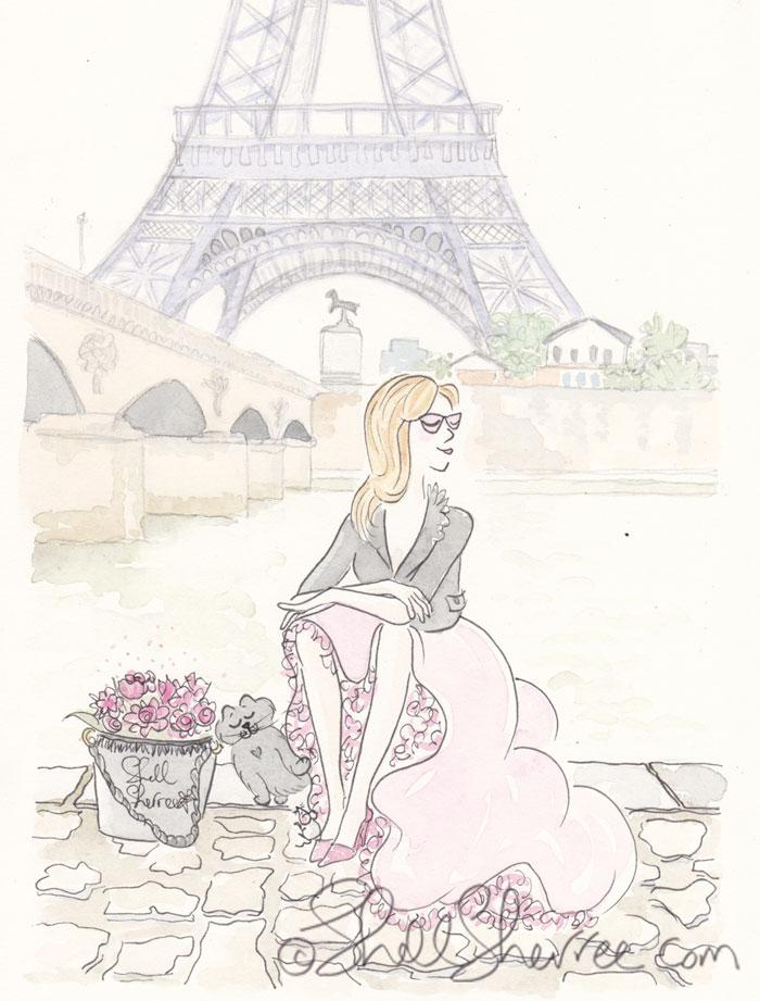 Paris fashion illustration, Banking on an Eiffel Tower View © Shell Sherree