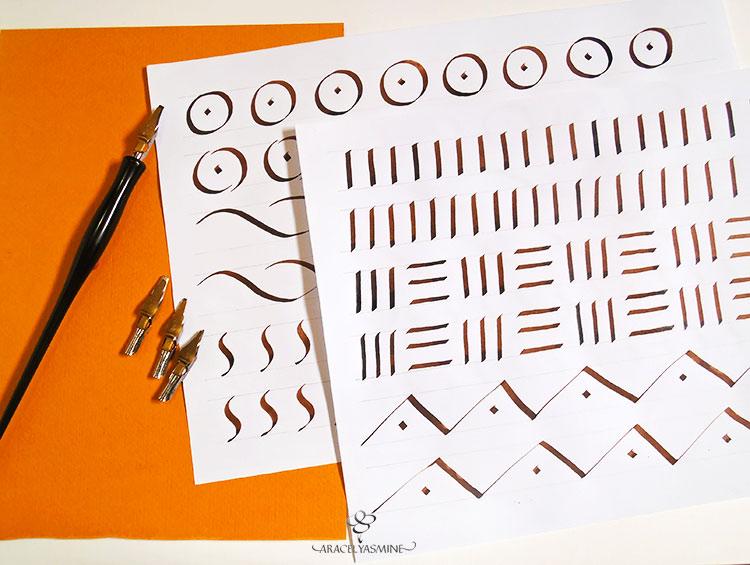 ¿Qué trazos hacer para empezar a escribir con plumillas anchas?