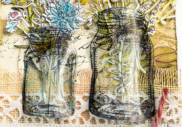 Layers of ink - Wildflower Mason Jar Tutorial by Anna-Karin with Tim Holtz Sizzix Flower Jar