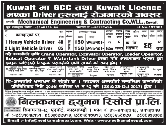 Jobs in Kuwait for Nepali, Salary Rs 51,710