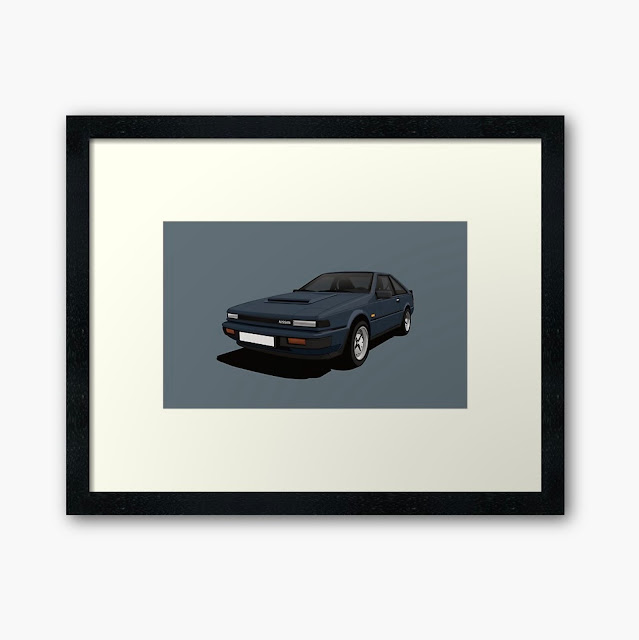 White Nissan Silvia S12 car poster