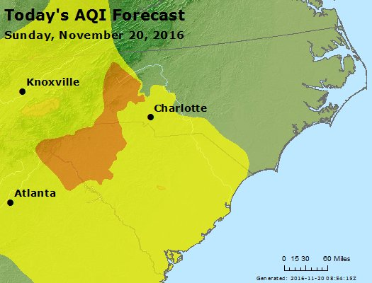 Map of Air Quality Forecast for the region