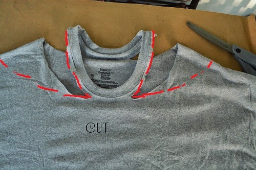52fad6cb667a Take your first shirt and cut around your collar leaving about 3 inches on  the front and back.