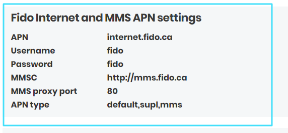New Fido  MMS APN settings