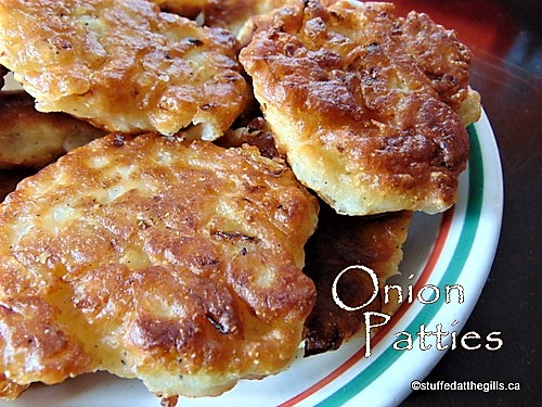 Onion Patties in a serving dish.