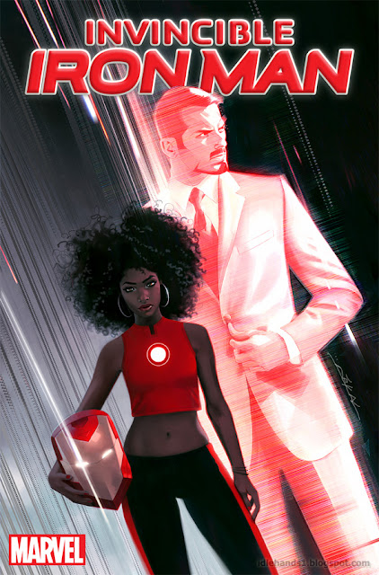 Invincible Iron Man #1 cover with Black Woman Riri Williams as Iron Man