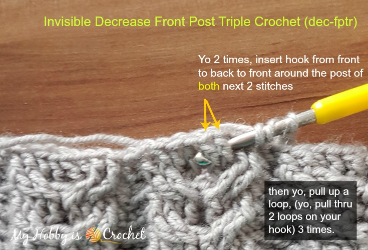 Tutorial: Invisible Decrease Front Post Triple Crochet