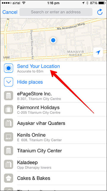 location services share location send your location