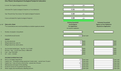 a screenshot of the Excel-based ecological footprinting calculator.