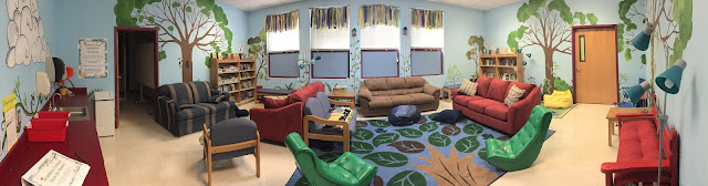 The whole space! Our reading lounge includes cozy seating and garden-themed decor to provide a positive experience with reading.
