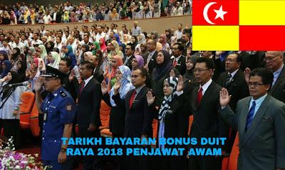 Tarikh Bayaran Bonus Duit Raya 2018 Penjawat Awam Selangor