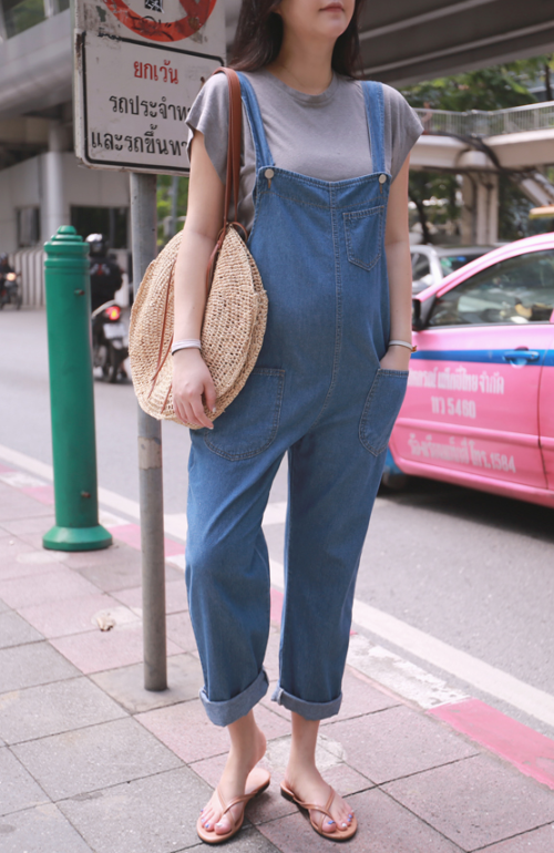 Wide Arm Opening Denim Overall