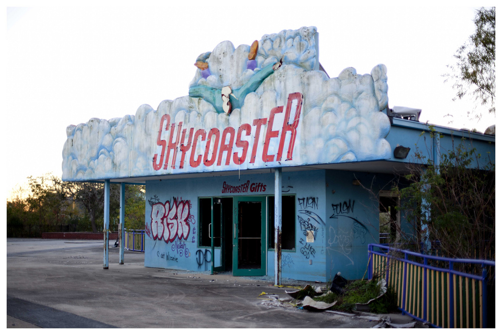The abandoned Six Flags New Orleans amusement park