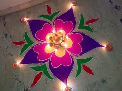 Rangoli Designs for Diwali with Flowers and Diyas