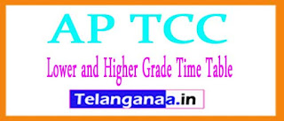 AP TCC (Lower and Higher Grade) Time Table 2017