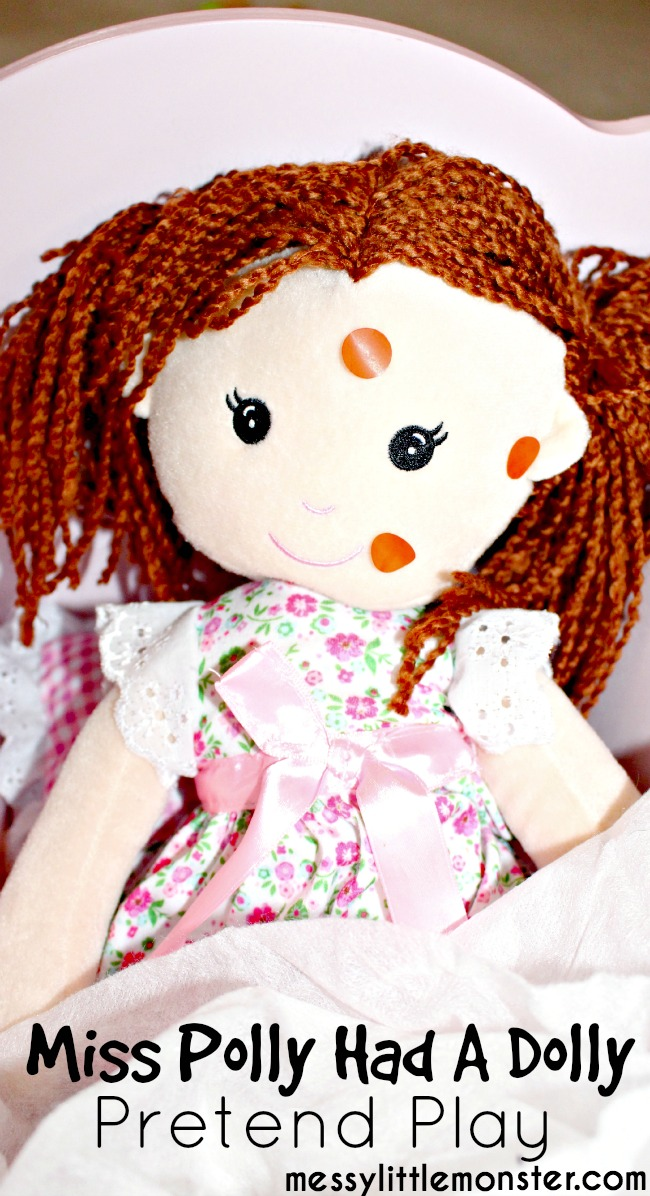 Miss Polly had a Dolly nursery rhyme pretend play activity for kids preschoolers toddlers eyfs.