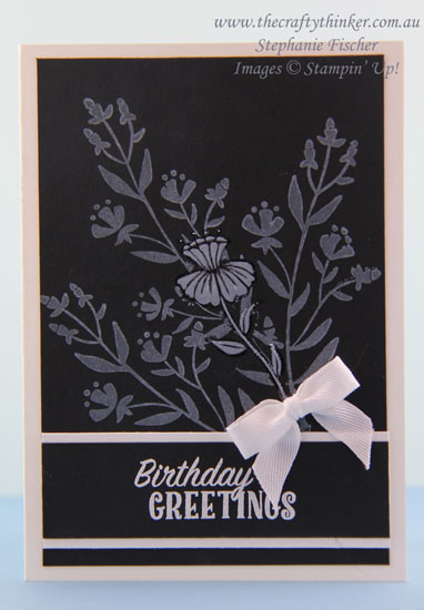 www.thecraftythinker.com.au, Flirty Flowers, Black & White card, #thecraftythinker, Stampin Up Australia Demonstrator, Stephanie Fischer, Sydney NSW