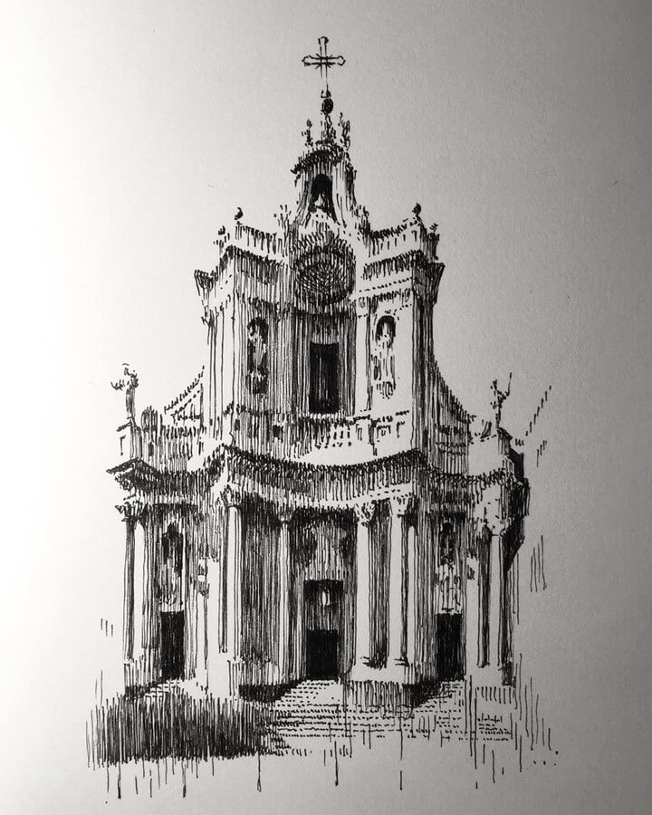 08-Basilica-Collegiata-Mark-Poulier-Eclectic-Mixture-of-Architectural-Drawings-www-designstack-co